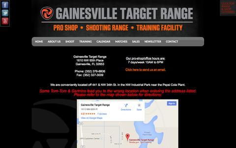 Screenshot of Contact Page gainesvilletargetrange.com - Map & Info - captured Sept. 29, 2014
