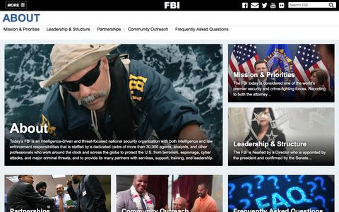 Screenshot of About Page fbi.gov - About — FBI - captured Aug. 2, 2016