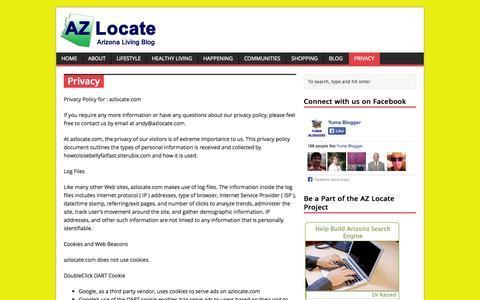 Screenshot of Privacy Page azlocate.com - Privacy | AZ Locate - Arizona Living Blog - captured Oct. 30, 2014