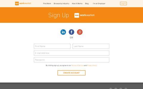 Screenshot of Signup Page workmarket.com - Sign Up & Get Working Today | Work Market - captured Nov. 21, 2015