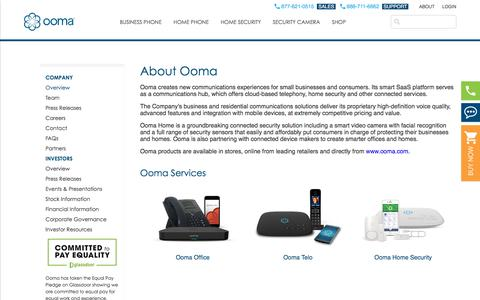 Screenshot of About Page ooma.com - About Ooma | Home of the Internet phone service revolution - captured July 12, 2018