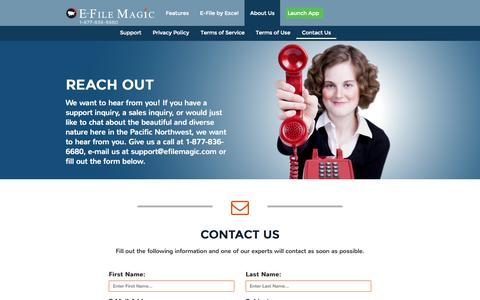 Screenshot of Support Page efilemagic.com - Contact Us |  About US - E-File Magic - captured July 3, 2015