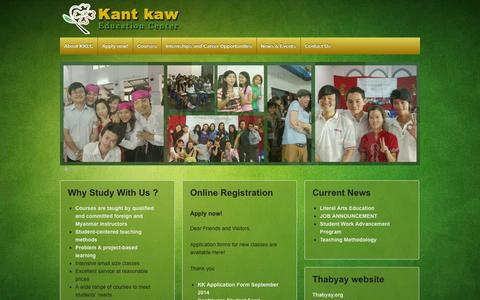 Screenshot of Home Page kantkaw.com - Kant Kaw Education Center   Space to Grow! - captured Oct. 6, 2014