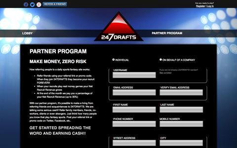 Screenshot of Signup Page 247drafts.com - 247drafts.com | Daily Fantasy Sports | MLB, NHL, CFL, NFL, NBA - captured Nov. 5, 2014