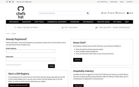 Screenshot of Login Page chefshat.com.au - Login - captured Dec. 14, 2018
