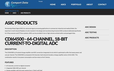 Screenshot of Products Page comport-data.com - ASIC Products & Mixed-Signal ASICs - captured Nov. 10, 2016