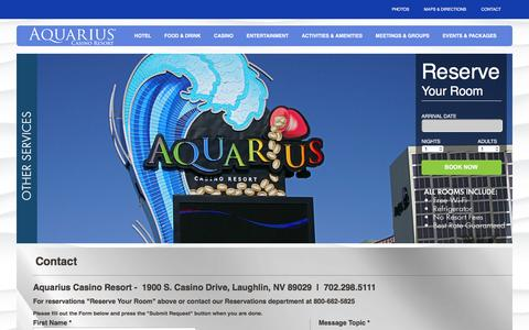 Screenshot of Contact Page aquariuscasinoresort.com - Aquarius Casino Resort Contact Page  -  Laughlin   | Contact the Aquarius Casino | Aquarius Casino Contact Form | Get in touch with the Aquarius Casino - captured July 26, 2016
