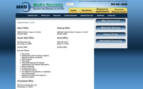 Screenshot of Maps & Directions Page medeyeassociates.com - MedEye Associates | Miami Florida Ophthalmology Eye Center | Directions - captured Jan. 20, 2017