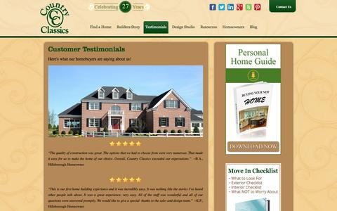 Screenshot of Testimonials Page country-classics.com - Customer Testimonials - captured Jan. 31, 2016