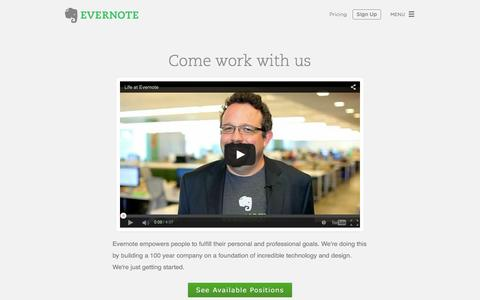 Screenshot of evernote.com - Careers at Evernote | Evernote - captured June 17, 2015