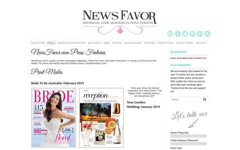 Screenshot of Press Page newsfavor.com - NewsFavor.com Press Features and Mentions | NewsFavor.com - captured Oct. 7, 2014