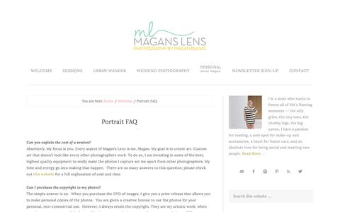 Screenshot of FAQ Page maganslens.com - Portrait FAQ - Austin Family and Children Photographer | Magan's Lens - captured Dec. 21, 2015
