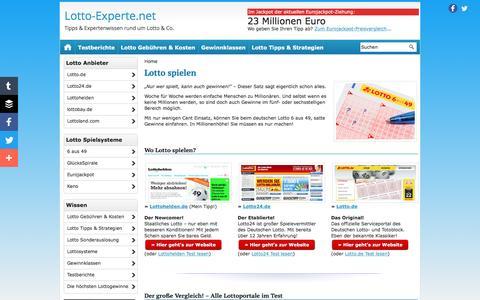 Screenshot of Home Page lotto-experte.net - Lotto spielen - Mit Tipps & Tricks - captured June 7, 2016