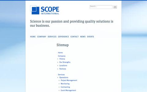 Screenshot of Site Map Page scope-international.com - Sitemap - Scope International AG - captured Oct. 4, 2014