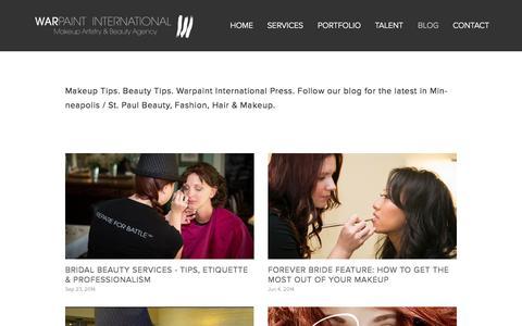 Screenshot of Blog warpaintinternational.com - BLOG — Warpaint International Makeup Artistry & Beauty Agency - captured Oct. 4, 2014