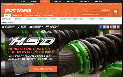 Screenshot of Home Page driftworks.com - Driftworks, Drift performance parts direct to your door - captured Dec. 15, 2015