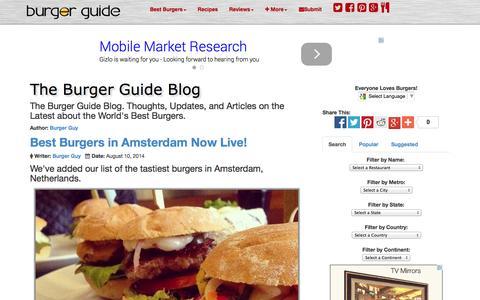 Screenshot of Blog theburgerguide.com - Burger Guide Blog -  Latest about the World's Best Burgers - The Burger Guide - captured Oct. 29, 2014
