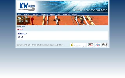 Screenshot of Press Page kwltd.com - News by KW Ltd - Oil and Gas Engineering Company UK, Norway - captured Oct. 6, 2014