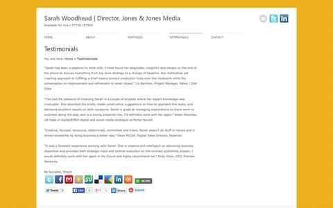 Screenshot of Testimonials Page sarahwoodhead.co.uk - Testimonials | SarahWoodhead.co.uk - captured Oct. 6, 2014