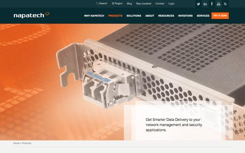 Screenshot of Products Page napatech.com - Products | Napatech Network Adapters and Monitors - captured July 3, 2016