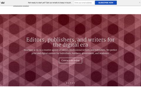 Screenshot of Home Page hourigan.co - Editors, copywriters and publishers – Hourigan & Co. - captured Oct. 3, 2014