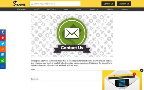 Screenshot of Contact Page snopes.com - Contact - captured Sept. 21, 2018