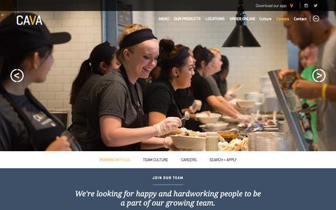 Screenshot of Jobs Page cavagrill.com - Careers | Cava Grill - captured Nov. 5, 2015