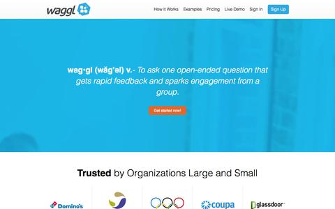 Screenshot of Pricing Page waggl.it - Waggl - Get feedback and spark engagement one question at a time. - captured Sept. 17, 2014
