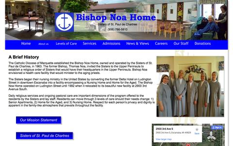 Screenshot of About Page bishopnoahome.com - About Us - captured May 14, 2016