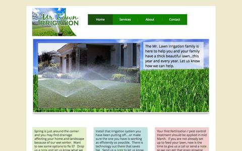 Screenshot of Home Page mrlawnirrigation.com - Home - Mr. Lawn Irrigation - captured Oct. 7, 2014