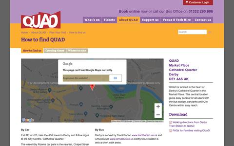 Screenshot of Maps & Directions Page derbyquad.co.uk - Derby QUAD - How to find QUAD - captured Oct. 8, 2018