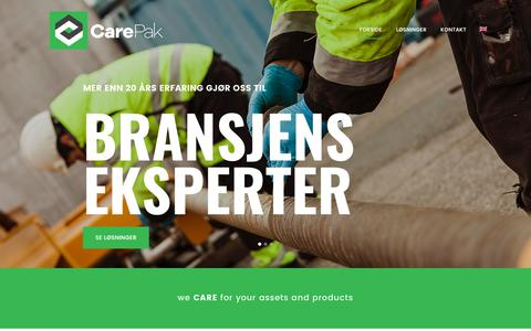 Screenshot of Home Page carepak.no - Carepak | we CARE for your products and services - captured July 14, 2017