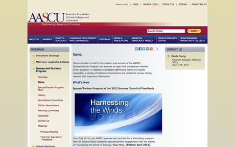 Screenshot of Press Page aascu.org - AASCU Spouse/Partner News - captured Nov. 4, 2014