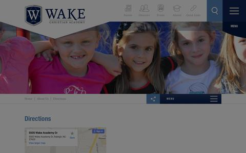 Screenshot of Maps & Directions Page wakechristianacademy.com - Directions - Wake Christian Academy - captured Jan. 10, 2016