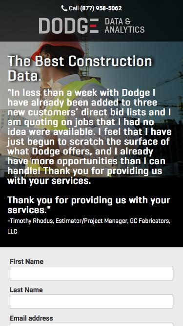 The Best Construction Data - Get 2 Free Leads: Dodge Data and Analytics