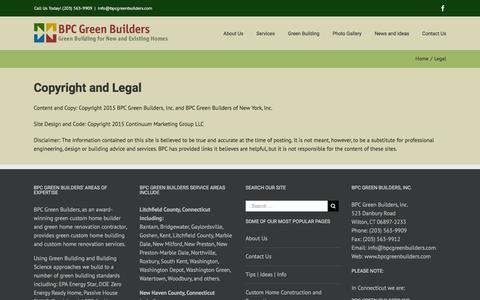 Screenshot of Terms Page bpcgreenbuilders.com - Legal - BPC Green Builders - captured Dec. 28, 2015