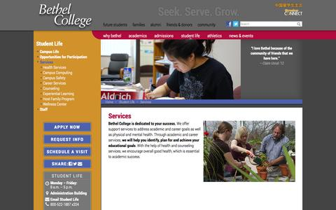 Screenshot of Services Page bethelks.edu - Services ‣ Student Life - Bethel College - captured Oct. 5, 2014