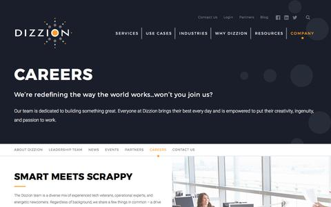 Screenshot of Jobs Page dizzion.com - Careers | Dizzion - captured Oct. 12, 2017
