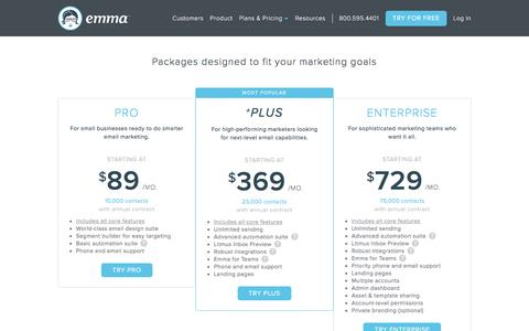 Screenshot of Pricing Page myemma.com - Emma Email Pricing | Emma Email Marketing - captured March 29, 2017