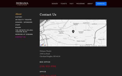 Screenshot of Contact Page dobama.org - Contact Us — Dobama Theatre - captured Feb. 9, 2016