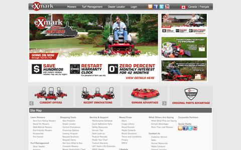 Screenshot of Home Page exmark.com - Zero Turn Mowers - Commercial Lawn Equipment | Exmark - captured Oct. 3, 2014