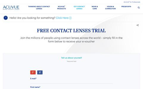 Screenshot of Trial Page acuvue.co.uk - Free Contact Lenses Trial | Acuvue® - captured Oct. 22, 2018