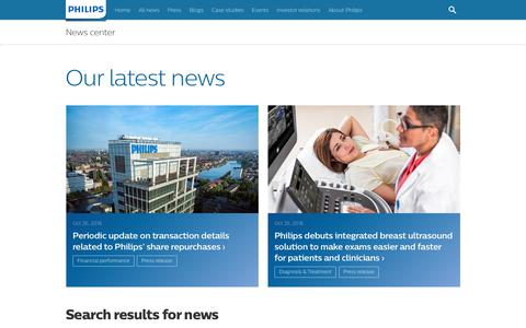 Screenshot of Press Page philips.com - Our latest news, press releases and blogs - News center | Philips - captured Oct. 28, 2018