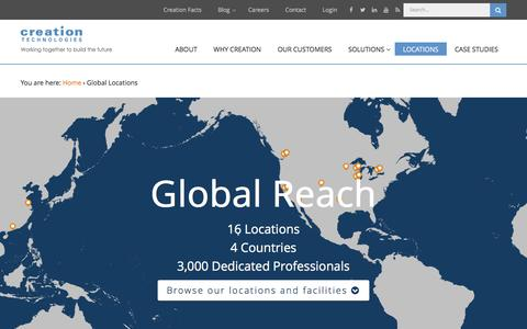 Screenshot of Locations Page creationtech.com - Global Locations | Creation Technologies LP - captured Feb. 1, 2016