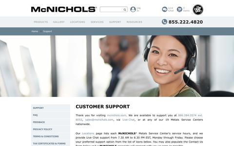 Screenshot of Contact Page Support Page mcnichols.com - Contact Us - Customer Support | McNICHOLS - captured Sept. 24, 2018