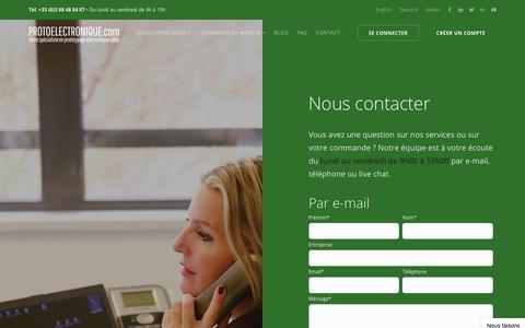 Screenshot of Contact Page protoelectronique.com - Contactez notre service client, 24h/24 - 7j/7 - captured Sept. 25, 2018