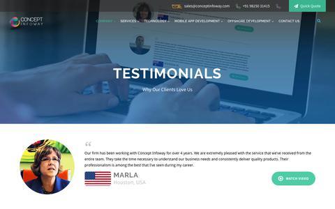 Screenshot of Testimonials Page conceptinfoway.net - Testimonials | Concept Infoway - captured Sept. 24, 2018