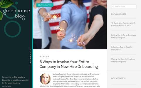 Screenshot of Blog greenhouse.io - Greenhouse Recruiting Blog | Greenhouse Software - captured Jan. 13, 2017