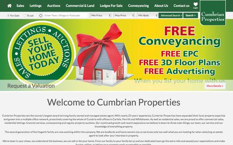 Screenshot of Home Page cumbrian-properties.co.uk - Cumbrian Properties Estate Agents, the county's largest award winning family owned estate agent. - captured July 23, 2018
