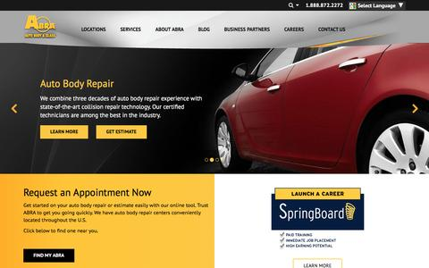 Screenshot of Home Page abraauto.com - ABRA Auto Body & Glass | Auto Body Repair, Auto Glass Repair - captured March 7, 2017